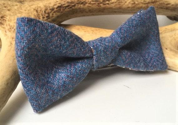 New Light Grey Herringbone Tweed Wool Pre-Tied Bow Tie /& Pocket Square Set.