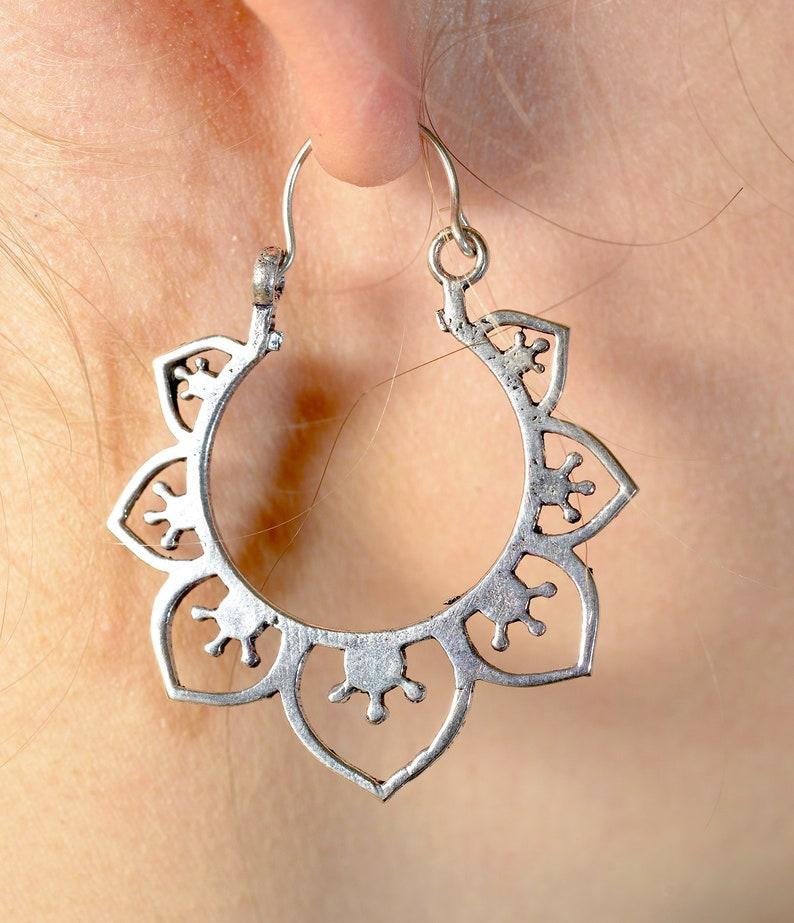 Hoop earrings Boho earrings ethnic earrings Flower hoop earrings Silver brass earrings Silver earrings