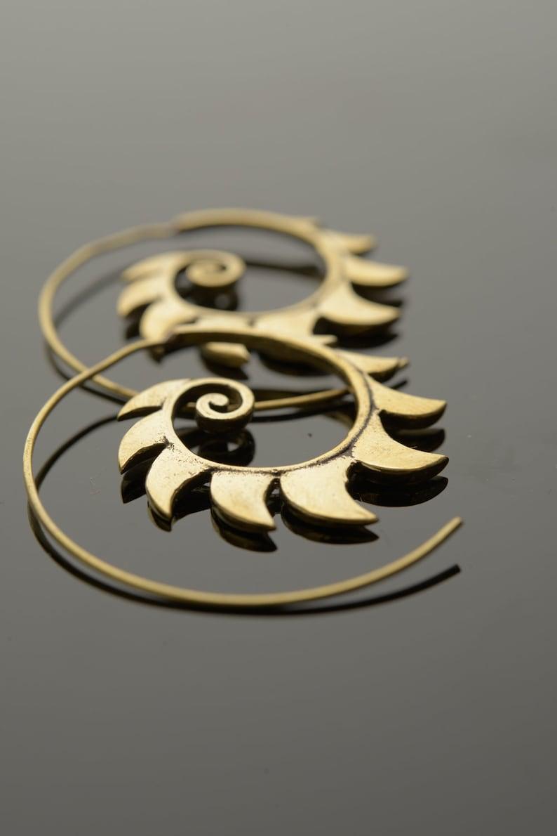 Boho earrings Fire spiral earrings Gold brass earrings Gold dangle earrings Tribal earrings
