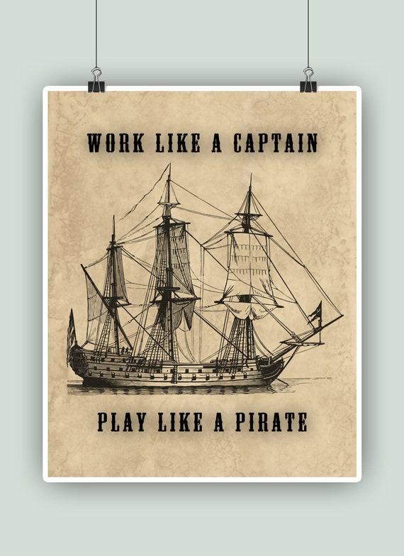 Nautical personalised captain print.