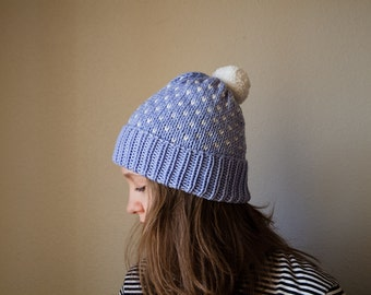 Knit Fair Isle Hat Light Blue