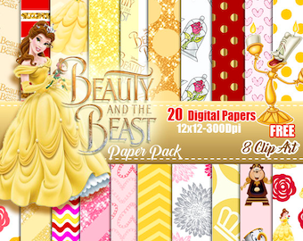 Belle Beauty and the Beast digital paper Pack, Free Clip Art disney Belle, scrapbook papers, background