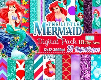 The Little Mermaid Digital Papers Mermaid Digital papers Ariel Free Clipart Disney Princess Scrapbook Scales Digital Scrapbook mermaid pack