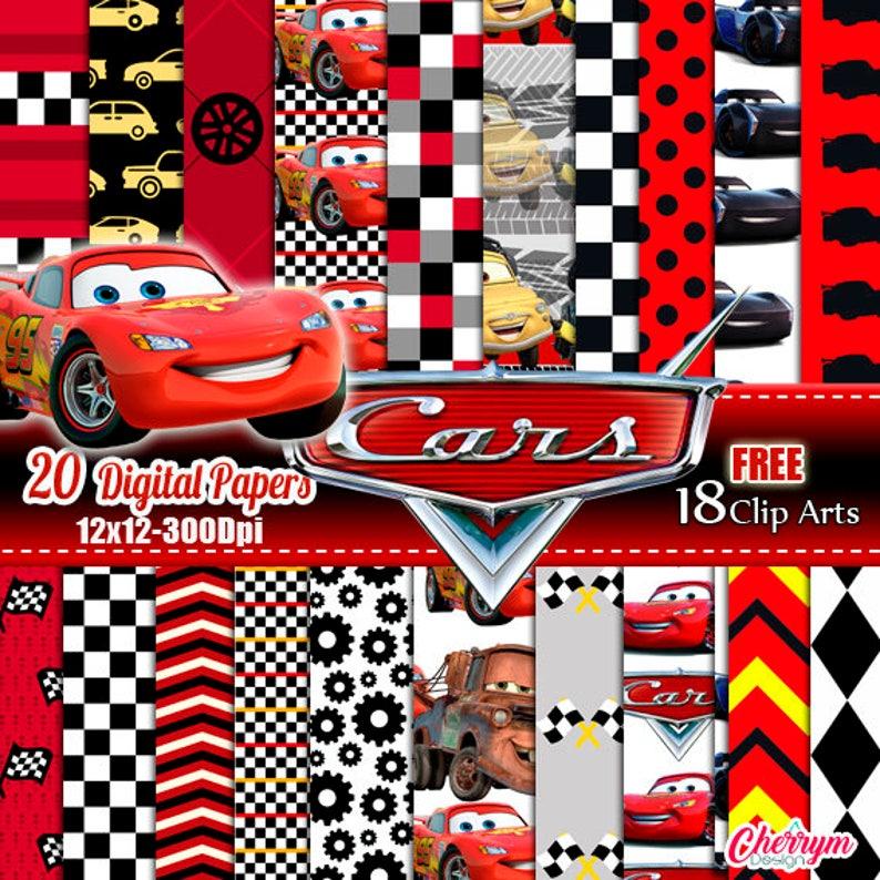 Disney Cars 3 2 1 Digital Paper. Instant Download image 0