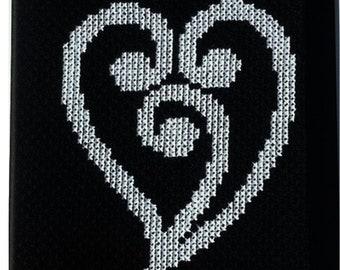 New Zealand Maori Heart Koru Design Cross Stitch Pattern Instant PDF Download