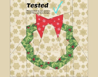Christmas Wreath Foundation Paper Peiced Pattern Block FPP