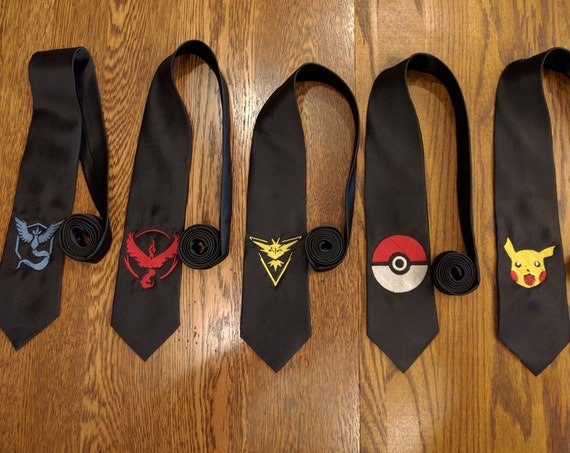 Pokemon Custom Tie (ties, embroidered, Team Valor, Team Instinct, Team Mystic, Pikachu, Pokemon Go, Pokemon, Poke Ball, necktie)
