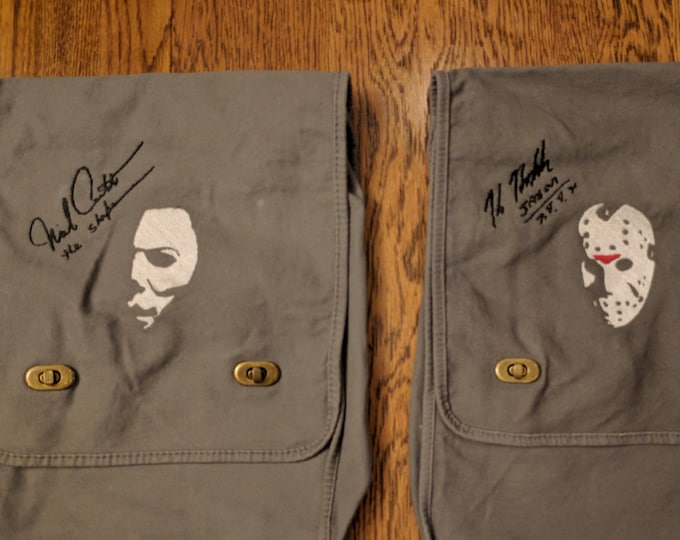 Custom Horror Messenger Bag (w/embroidered autograph, michael, myers, halloween, the shape, jason, voorhees, friday the 13th, horror, movie)