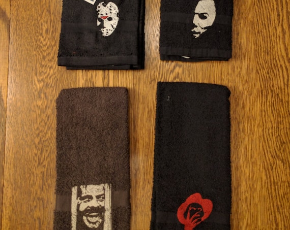 Custom Horror Towel Set (2 hand towels, embroidered) (chucky, jason, michael, jigsaw, saw, friday the 13th, halloween, freddy, the shining)