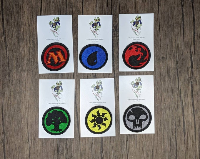 Gamer Patches (magic the gathering, white, blue, black, red, green, mana)