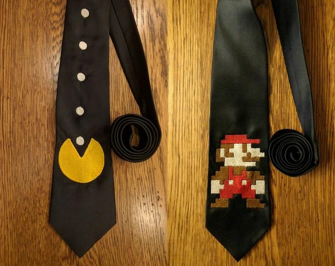 Custom Gamer Ties v1 (mario, nintendo, mario brothers, mario cart, Pacman, gaymer, gamer)