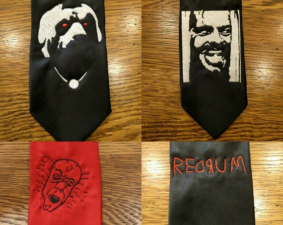Stephen King Tie (Custom order) (redrum, the shining, shining, jack, stephen king, cujo, pennywise, necktie)