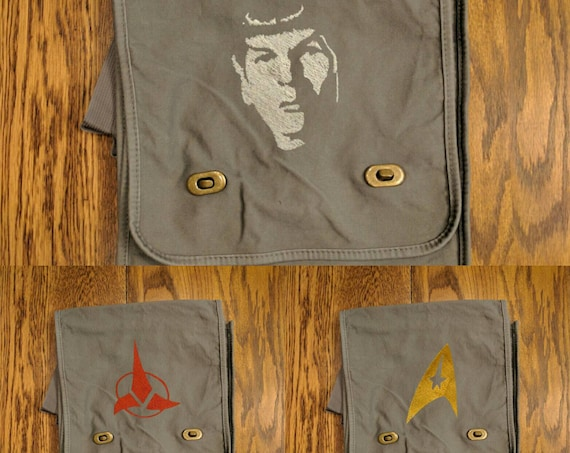 Custom Star Trek Messenger Bag (Spock, Klingon, Star Trek Logo) (spock, klingon, geek, nerd, trekky, prosper, live long, star trek logo)