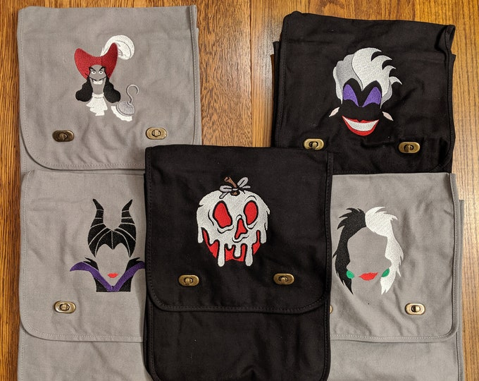 Featured listing image: Villain Messenger Bag (hook, ursula, maleficent, poison apple, cruella)