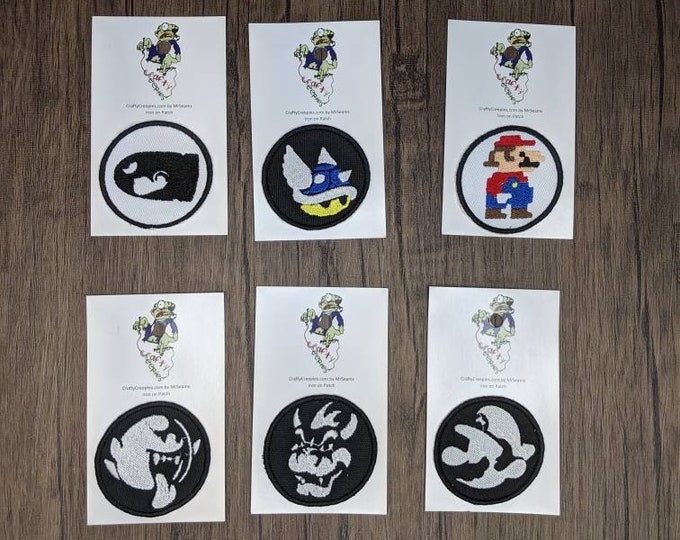 Gamer Patches (mario, blue shell, big boo, bowser, bullet bill, pixel)