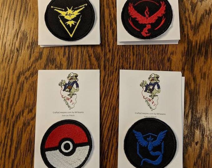 Pokemon Patches (ties, embroidered, Team Valor, Team Instinct, Team Mystic, Pikachu, Pokemon Go, Pokemon, Poke Ball)