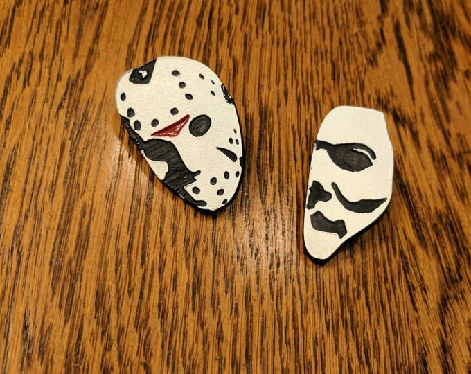 Custom Horror Pin/Button (Jason, Vorhees, Michael, Myers, Halloween, Friday the 13th)