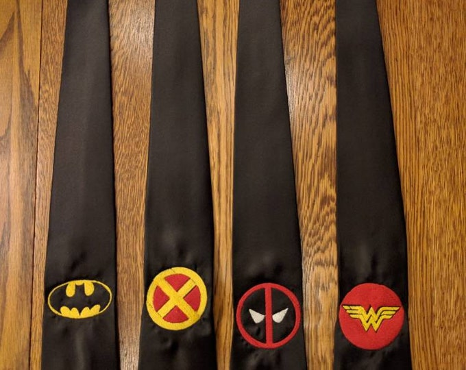 Custom Superhero Tie (Select one or request custom) (superman, superwoman, ironman, flash, hero, heroes, the flash, deadpool, necktie)