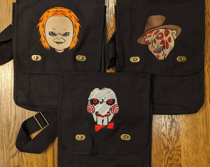 Featured listing image: Freddy, Chucky or Jigsaw Messenger Bag (nightmare on elm Street, child's play, saw, krueger)