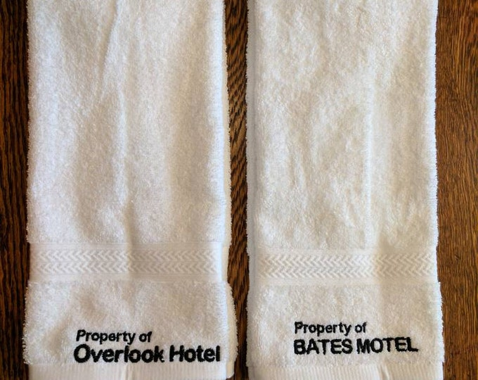 Horror Hand Towel Set (2, embroidered) (bates, bates motel, towel, horror, overlook hotel, overlook, cortez, hotel cortez, psycho, ahs)