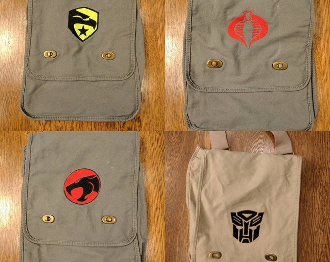Custom 80s Kid Messenger Bag (Thundercats, cobra command, GI Joe, Transformer, Decepticon, 80s, kids, cartoon, Saturday morning, throwback)