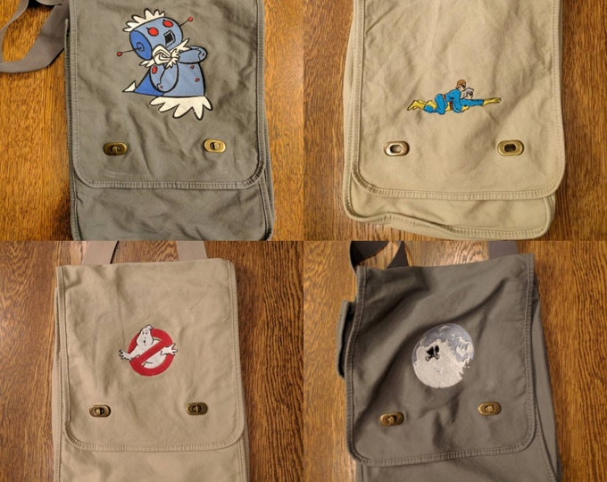 Custom 80s Kid Messenger Bag (ambiguously gay duo, ghostbusters, et, extra terrestrial, rosie, jetsons, throwback, cartoon, kids, 80s)