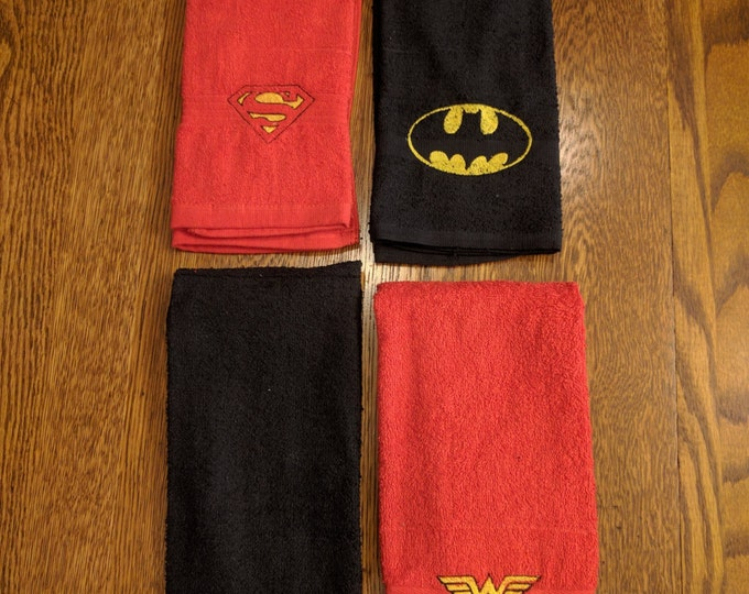 Custom Super Hero Towel Set  (2 hand towels, embroidered) (superman, wonder woman, batman, the flash, super hero, dc comics, comic books)