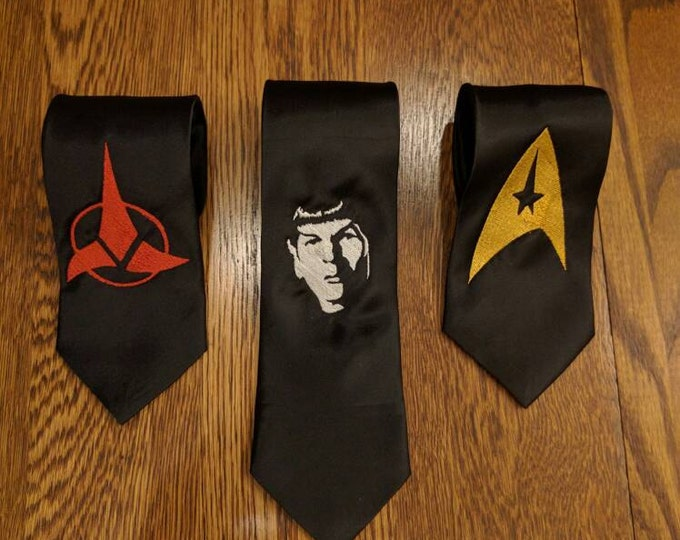 Custom Star Trek Tie (scifi, trek, star trek, enterprise, klingon, spock, prosper, live long, fun ties, necktie)