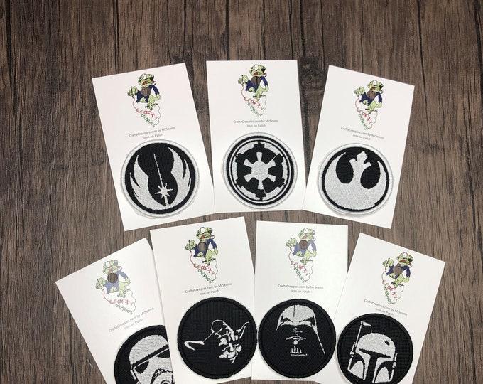 Star Wars Patches (boba fett, darth vader, yoda, stormtrooper, jedi, rebellion, empire)