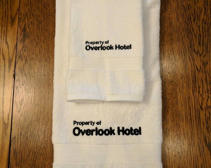 Overlook Hotel Towel Set  (1 hand towel & 1 bath towel, embroidered) (overlook, overlook hotel, shining, the shining, stephen king, redrum)