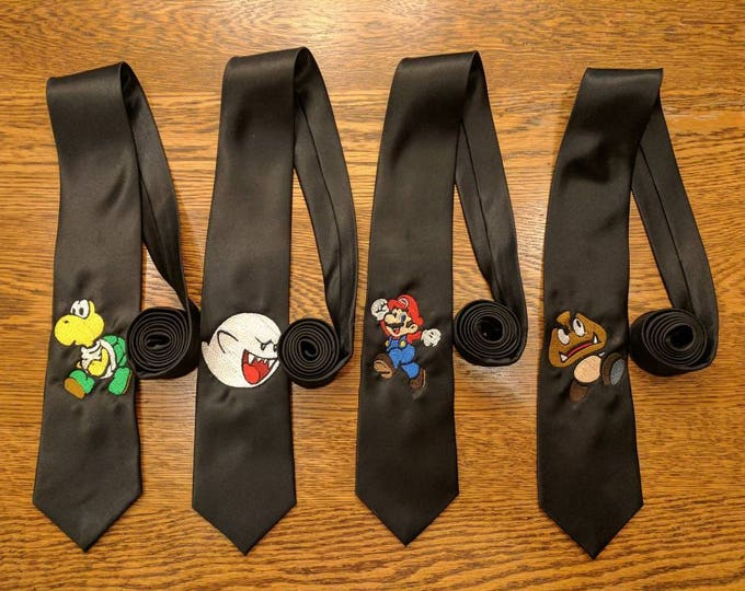 Featured listing image: Custom Gamer Ties v3 (mario, brothers, goomba, koopa, boo, gaymer, fun ties, kart, smash, gamer)
