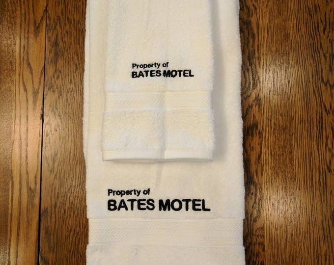 Bates Motel Towel Set  (1 hand towel & 1 bath towel, embroidered) (towel, bates motel, horror, movie, tv series, psycho, horror movie, gore)