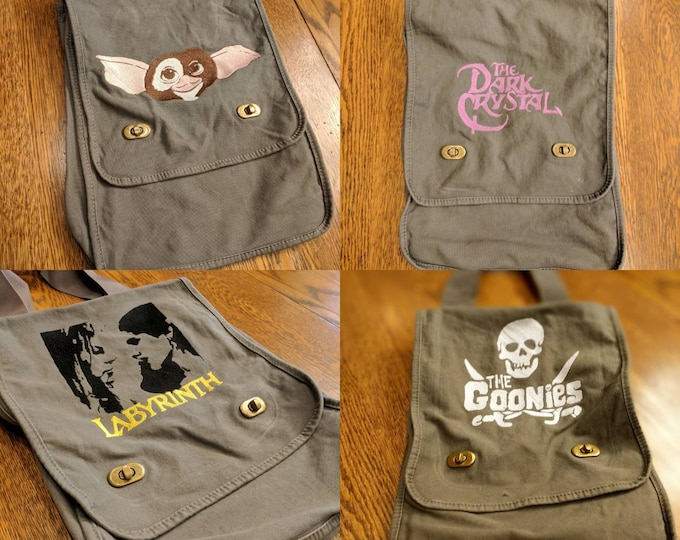 Custom 80s Kid Messenger Bag #2 (Goonies, The Dark Crystal, Labyrinth, Goonies never die, Gizmo)