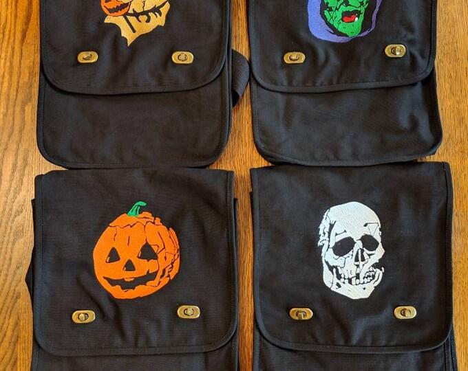 Featured listing image: Custom Horror Messenger Bag (Halloween 3, trick 'r treat, sam, witch, skull, pumpkin, skeleton, jack-o-lantern)