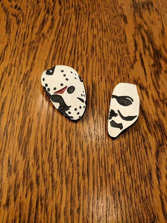 Custom Horror Pin/Button (Jason, Vorhees, Michael, Myers, Halloween, Friday the 13th)