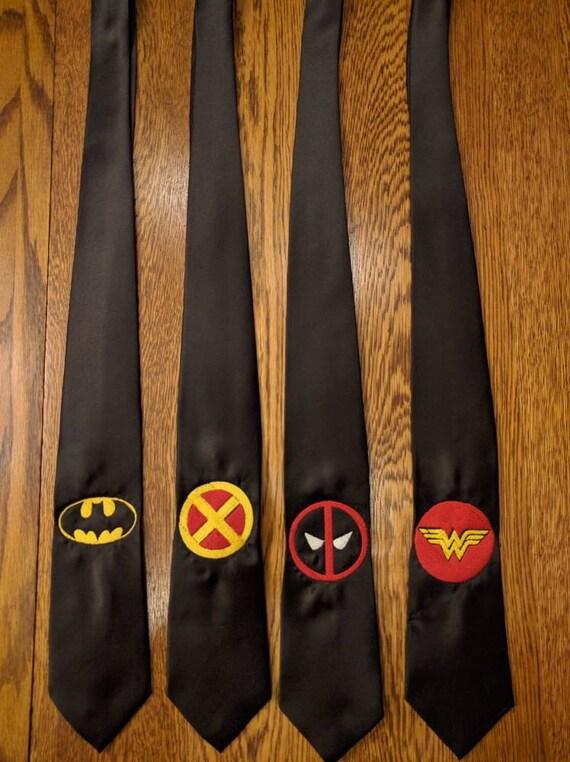 Custom Superhero Tie (Select one or request custom) (superman, superwoman, ironman, flash, hero, heroes, the flash, deadpool, necktie)