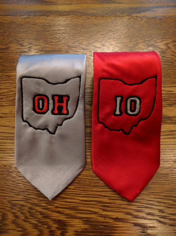 OH and IO Tie Pair/Set (2 ties) (osu, ohio state, OH, buckeye, buckeyes, big 10, the ohio state, necktie)