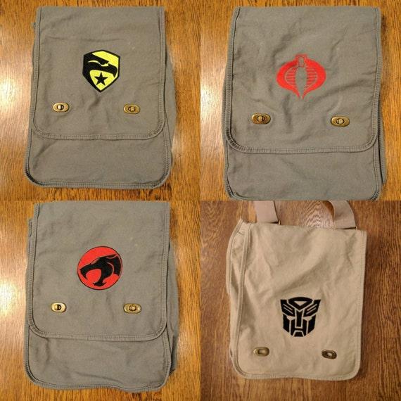 Custom 80s Kid Messenger Bag (Thundercats, cobra command, GI Joe, Transformer, Decepticon, 80s, kids, cartoon, Saturday morning, throwback)