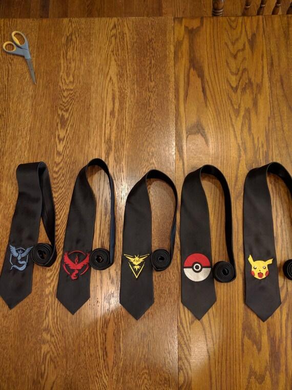 Pokemon Custom Tie (ties, embroidered, Team Valor, Team Instinct, Team Mystic, Pikachu, Pokemon Go, Pokemon, Poke Ball, necktie)