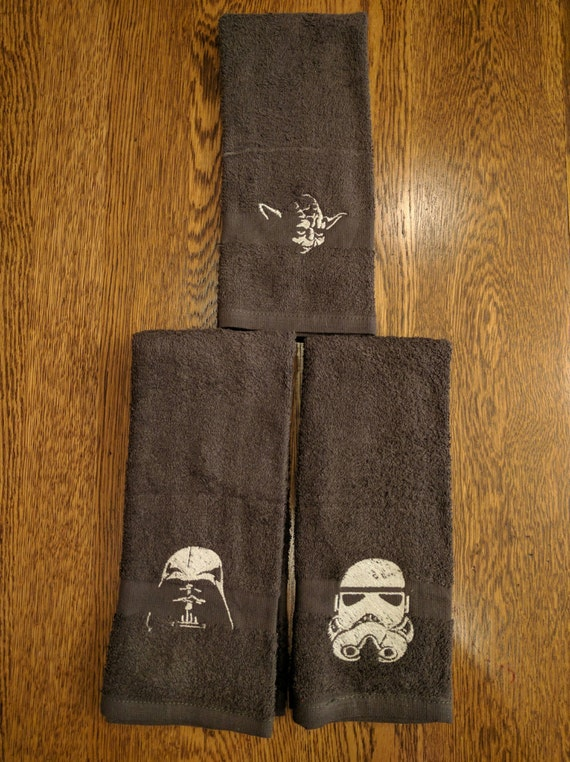 Custom Star Wars Towel Set  (2 hand towels, embroidered) (yoda, stormtrooper, darth vader, star wars, the force, dark side, light side)