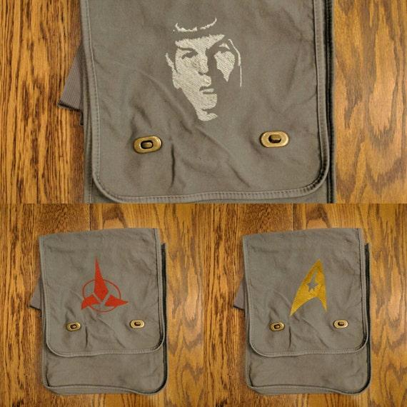 Custom Star Trek Messenger Bag (Spock, Klingon, Star Trek Logo) (spock, klingon, geek, nerd, trekky, prosper, live long, star trek logo)