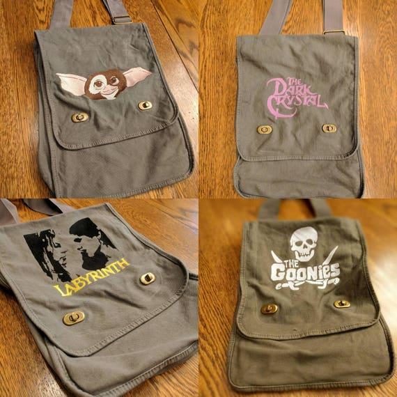 Custom 80s Kid Messenger Bag #2 (Goonies, The Dark Crystal, Labyrinth, Goonies never die, Gizmo)