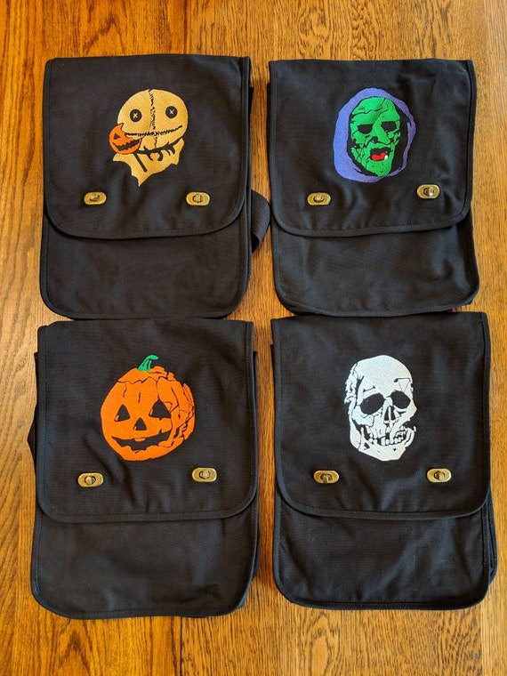 Custom Horror Messenger Bag (Halloween 3, trick 'r treat, sam, witch, skull, pumpkin, skeleton, jack-o-lantern)