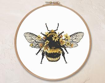 Bumblebee cross stitch pattern PDF flower woodland insect nature cute bug honey counted cross stitch #CS213