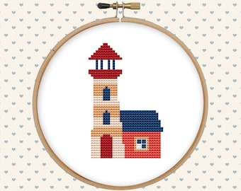 Lighthouse cross stitch pattern pdf - counted cross stitch - nautical cross stitch - modern cross stitch - instant download - pattern modern