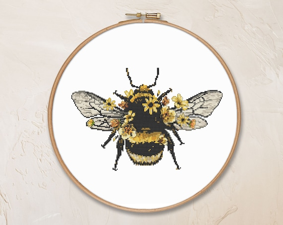 Entomology Modern Cross Stitch Pattern Honey Bee Save the Bees Hand Embroidery Cute Cross Stitch Bumble Bee Beekeeper Gift