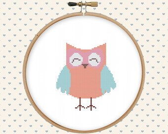Baby owl cross stitch pattern pdf - instant download - easy cross stitch pattern