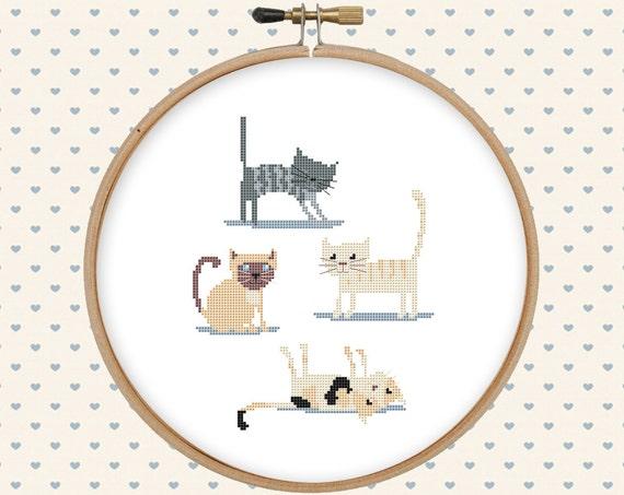 Cat cross stitch pattern pdf - instant download - animal cross stitch -  kitten cross stitch - easy cross stitch pattern - simple embroidery