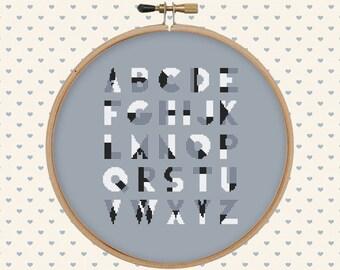 Hipster cross stitch pattern PDF - modern cross stitch pattern - instant download - alphabet cross stitch - letter cross stitch pattern