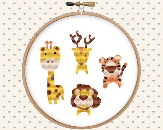 African Animal Cross Stitch Pattern Pdf Cute Cross Stitch Etsy